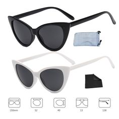 afc722021376a Retro Sunglasses Cat Eye 2 Packs for Women Men Vintage Mod StyleBlack White  Grey -