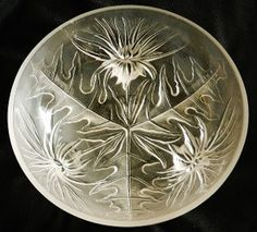 "Art Deco VERLYS by HEISEY Art Glass ALPINE THISTLE bowl. The original mold for this was acquired by HEISEY from Holophane Verlys and was produced in the 1950's. The exterior of the bowl is molded in a high relief technique similar to that employed by Rene Lalique. The exterior is finished with a Satin Acid Finish while the interior is smooth to the touch. This item is unsigned and measures 8 1/2"" X 3""."