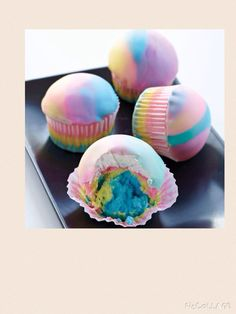 How to make bath bombs with really simple ingredients. I don't have a picture of them so sorry. Ingredients 1 1/2 cups of baking soda 5 drops of food coloring (optional) 1/2 cups of corn starch (optional 1 1/2 cups of lemon juice 1/2 cups of coconut oil (optional) Ice cube trays or something to shape with