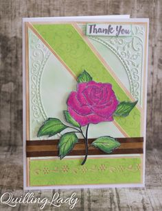 Quilling Lady: One rose stamp = two cards