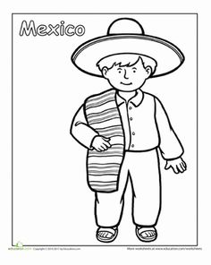 First Grade People Community & Cultures Worksheets: Multicultural Coloring: Mexico amerika Multicultural Coloring: Mexico Around The World Theme, Schools Around The World, Kids Around The World, Around The Worlds, Detailed Coloring Pages, Colouring Pages, Coloring Books, Coloring Sheets, Coloring Worksheets