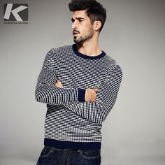 Winter Mens Fashion Sweaters 100% Cotton Plaid Contrast Color Knitted Brand Clothing Man's Knitwear Pullovers Clothes