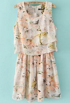 Apricot Sleeveless Floral Pleated Chiffon Dress US$27.33