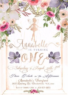 Fairy Invitation First Birthday Invitation by LaughingWillowDesign 1st Birthday Party For Girls, Garden Birthday, Fairy Birthday Party, Birthday Party Themes, 5th Birthday, Fairy Invitations, First Birthday Invitations, First Birthdays, Christening