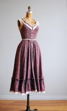 vintage 70's gunne sax burgundy calico floral sundress $85.00