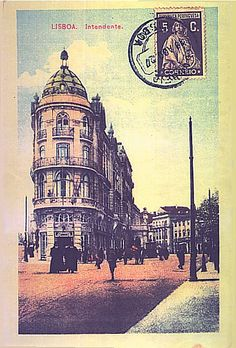 Almirante Reis Avenue, Lisbon. Photographic postcard, photographer unknown, after 1908.