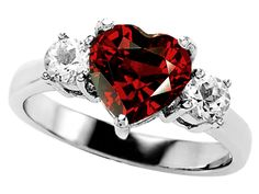 Original Star K™ Genuine 8mm Heart Shape Garnet Engagement Ring