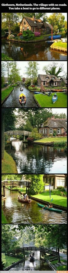 Giethoorn, Netherlands - Love it! Want to experience this.