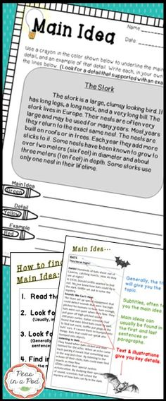 Main Idea! Anchor Charts, main idea posters, graphic organizers, 10 student practice passages building in difficulty, https://www.teacherspayteachers.com/Product/Main-Idea-2122542