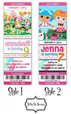 LaLaLoopsy Birthday Party Ticket Invitation - Digital Printable File | hollycatedesigns - Digital Art on ArtFire