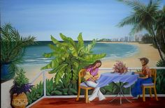 Original Oil Painting Seaside Cafe stretched by MARVINSTUDIO, $135.00 https://www.etsy.com/people/MARVINSTUDIO?ref=hdr_user_menu