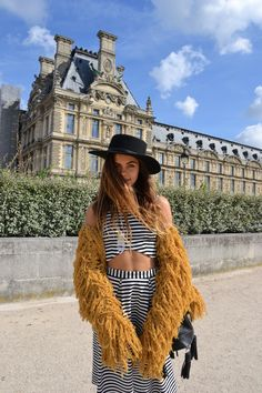 Mimi Elashiry, our princess in the golden shagjacket. #paris #shagjacket #golden #stripes #louvre #theloversanddriftersclub