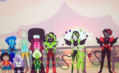 Happy ending?????? Short guy is Emers emerald he's a guy behind him is his younger sis jenn and beside in red and black is dark j there evil corrupt brother. The person beside Garnet is black heart (jenn Emers and dark j) Emers is like sans lazy but powerful.