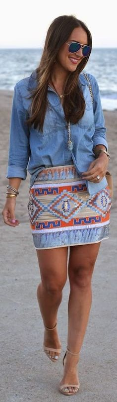 Forever 21 Multi Aztec Print Sequin Embellished Mini Skirt. This skirt is great because it can be easily dressed up or down.