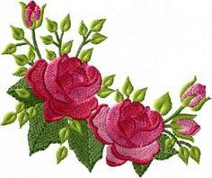 Trandafiri roșii modele de broderie mașină set 4x4 hoop