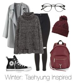 """Winter: Taehyung Inspired"" by btsoutfits ❤ liked on Polyvore featuring Rebecca Minkoff, Topshop, Dorothy Perkins, H&M and Converse"