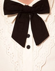 Enlarge ASOS Blouse With Broderie Anglaise And Bow