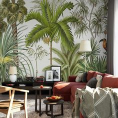 Tropical Rainforest Green Plants Wallpaper Mural Think about a facelift for your living room? Try this wall mural 😉 Wallpaper Wall, Plant Wallpaper, Custom Wallpaper, Tropical Wallpaper, Tropical Wall Decor, Tropical Interior, Tropical Colors, Tropical Furniture, Tropical Leaves