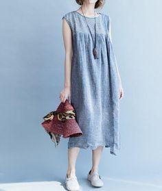 Women cotton and linen Sleeveless dress summer sundress by MaLieb