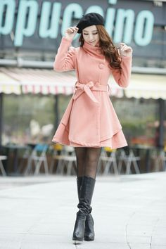 High Neck Long Sleeves Button Wool Dress Coat With Belt