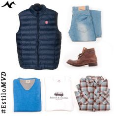 #EstiloMvd - Looks para ellos! Remera, Camisa escocesa, borcegos Benson & Thomas , Jean Dakar, Sweater Arrow, Chaleco Zenit