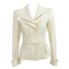 Tom Ford Ivory Jacket w Gold Zippers 1