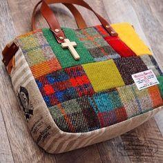 Harris tweed patchwork × rode controle Winter Warm tote bag leer Tsjechische linnen | Tas | mengen | handgemaakte postorder en verkoop Creema