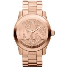 Pre-owned Michael Kors Runway Mk5661 Rose Gold Stainless Pave Crystal... ($180) ❤ liked on Polyvore featuring jewelry, watches, accessories, rose gold, pink gold watches, michael kors, crystal jewelry, dial watches and pre owned jewelry