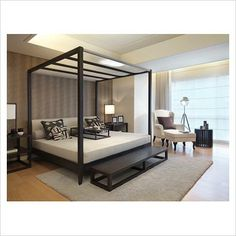Four Poster Double Modern Luxurious Bedroom Bed Bedroom Furniture, Bedroom Decor, Bedroom Bed, Bedroom Ideas, White Bedroom, Master Bedrooms, Contemporary Bedroom, Modern Bedroom, Home Interior Design