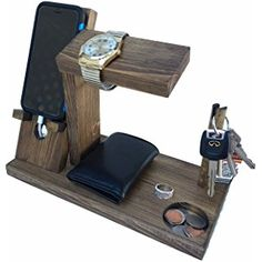 iPhone Docking Station with Key Holder Wooden / Valet / Watch Stand (Espresso - iPhone 4/5/6)