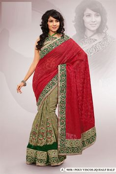 Red Polyester Viscos Embroidered Saree With Blouse