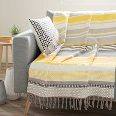 PORTO striped cotton throw, yellow/grey, 240 x 270 cm - Aline Lebel - Scarf Display, Cooling Blanket, Cotton Throws, Sofa Throw, Sofa Covers, Sofa Design, Home Textile, Beach Towel, Colorful Interiors