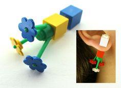 Mod Flower Fake Gauge Plug, Rave Festival Gear, Asymmetric Tribal Double Stud Earring, Two Side Front Back Earring, Blue Yellow, Geek Chic by RelampagoStudio on Etsy https://www.etsy.com/listing/209033927/mod-flower-fake-gauge-plug-rave-festival
