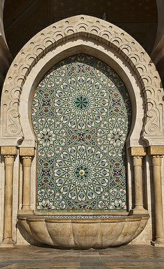 fountain at the Hassan II Mosque in Casablanca, Morocco