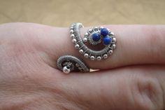 Adjustable Wire Ring, Blue Lapis Lazuli Egyptian Coil Snake Ring, Woven Wire Wrapped Ring, Artisan Wire Jewellery, High End Designer Jewelry by ForestBeads, $19.99
