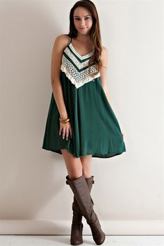Green Crocheted Gameday Dress // Can definitely see this for Baylor Bears gameday. #SicEm
