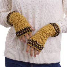 Featuring a solid color in honey with black accents these fingerless mitts are created by Peru's own Elvia Melendez. She works with sumptuously soft alpaca wool crocheting each mitt by entirely by hand. Crochet Fingerless Gloves Free Pattern, Fingerless Gloves Knitted, Knitted Hats, Crochet Wrist Warmers, Hand Warmers, Alpaca Scarf, Alpaca Wool, Hand Crochet, Knit Crochet