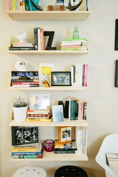 "Like these shelves - part of a house tour on apartmenttherapy.com. ""Nicole  Zach's Hey Party Duplex"""
