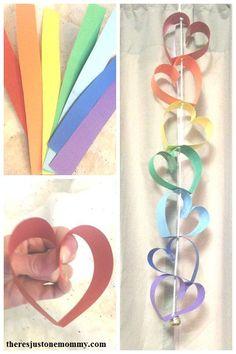 paper rainbow heart craft; #heart #kidscraft