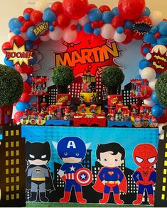 No photo description available. Superman Birthday Party, Boys First Birthday Party Ideas, Avengers Birthday, First Birthday Parties, Birthday Party Decorations, First Birthdays, Superhero Baby Shower, Superhero Party, Baby Party