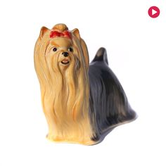 Yorkshire Terrier dogs  Porcelain figurine realistic High-quality Statuette Video preview by GlassFigurinesStudio on Etsy