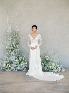 """Claire Pettibone Spring 2019 Bridal Collection: """"The White Album"""" ⋆ Ruffled Claire Pettibone's First Color-Free Bridal Collection 2015 Wedding Dresses, Colored Wedding Dresses, Designer Wedding Dresses, Wedding Attire, Wedding Gowns, Wedding Blog, Floral Wedding, Wedding Colors, Lace Wedding"""