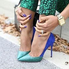 cool Shoespie Pointed Toe Color Block Stiletto Heel