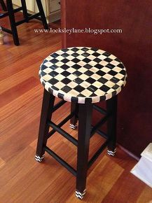 painting a stool with a mackenzie childs look, painted furniture