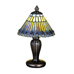 Glowing Amethyst Jewels Circle Stylized Peacock Feathers Made Of Amber, Jade And Amethyst Streaked Plum Colored Art Glass With Cobalt And Plum Accents. Each Piece Of Stained Glass In This Tiffany Style Shade Is Hand Cut And Wrapped In Copper Foil. This Versatile Favorite Is A Match To Many Decorative Styles. The Mini Lamp Base Is Hand Painted In A Beautiful Mahogany Bronze Finish.