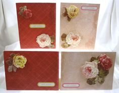 "Handcrafted by Teal Palmetto, LLC.  Victorian roses in shades of cream, yellow, pink, and red grace these lovely notecards.  All 4 cards have the sentiment ""Well Wishes"" on the front.  Price: $10."