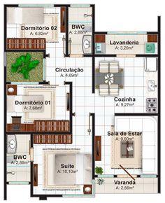 Planta de casa até 70 metros quadrados com 1 suíte e 2 quartos