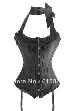 Sexy lingerie BLACK Brocade Pattern Fashion Overbust Wedding Corsets - Total 20 Stainless Steel Bone! Freeshipping $23.99