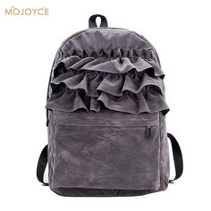 Fashion Women Velvet Backpack Suede Fabric Flouncing Lace Backpack Book Bag School Bags For Teenager Girls Travel Shoulder Bag