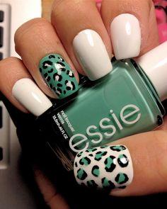 Teal cheetah and plain white nails #diy